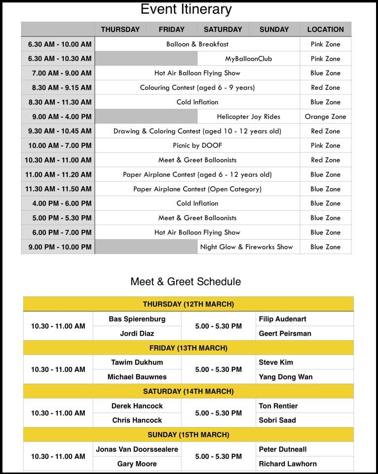 Hot Air Balloon Putrajaya Schedule